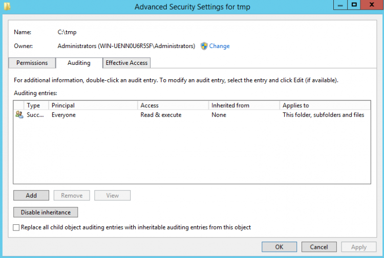 Advanced security settings for tmp. Screenshot.