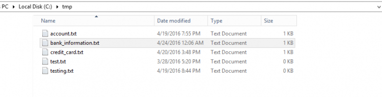 Tmp folder with some test files. Screenshot.