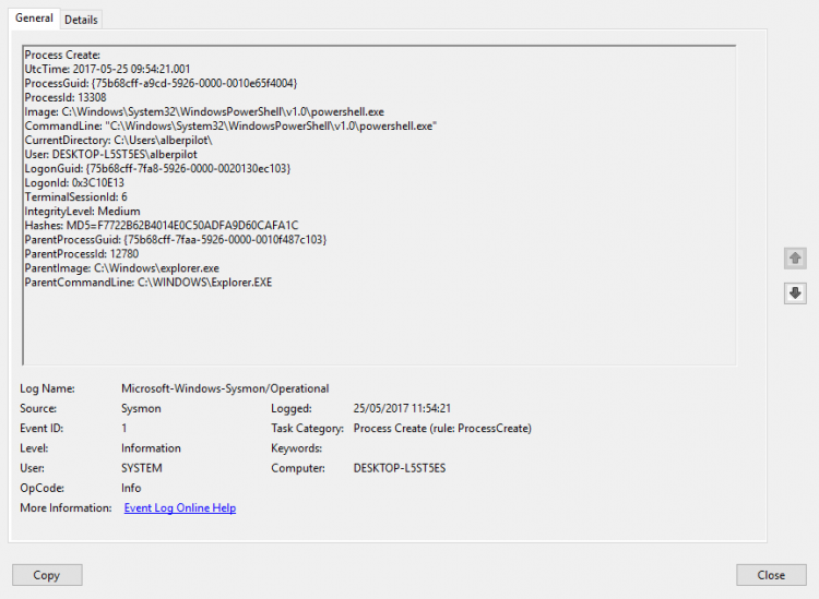 Event details used to monitor Sysmon events. Screenshot.