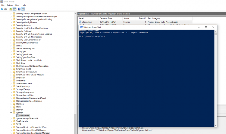 Testing with Powershell before monitor Sysmon events. Screenshot.