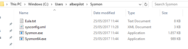 The folder showing the the configuration file (XML) as well as the Sysmon binaries. Screenshot.