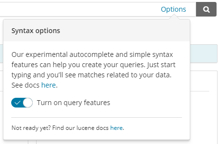 Enable Kuery search toggle