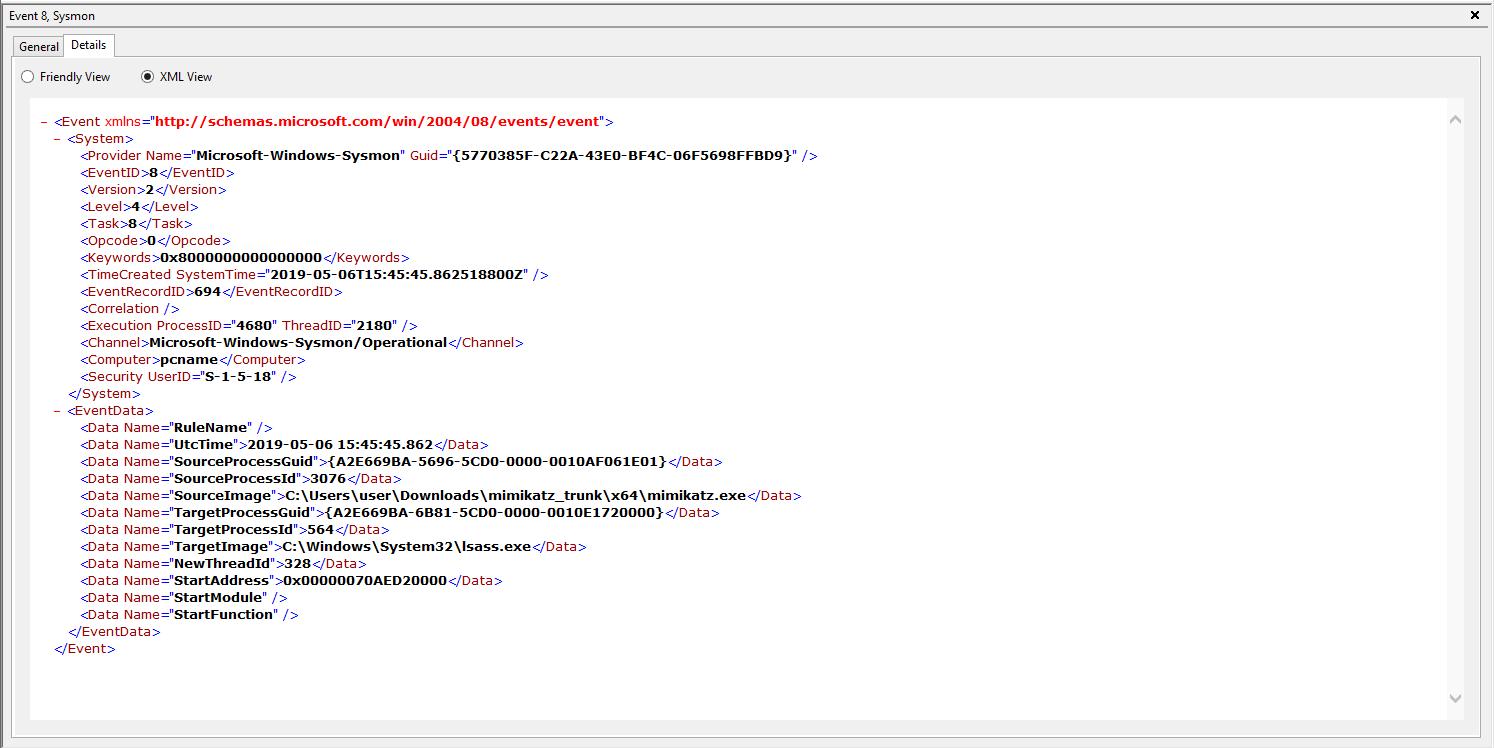 Remote thread creation event Eventviewer