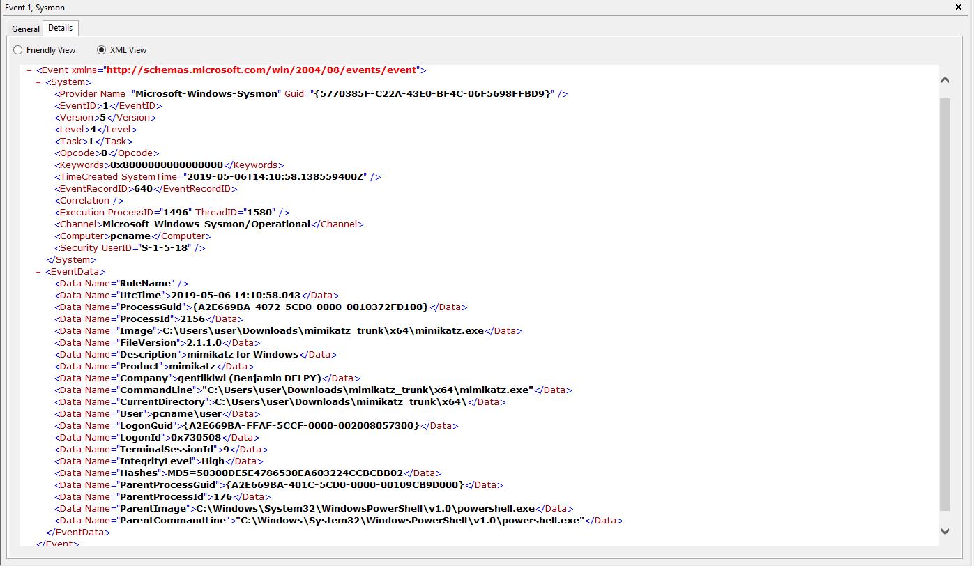 Mimikatz process creation event Windows event log