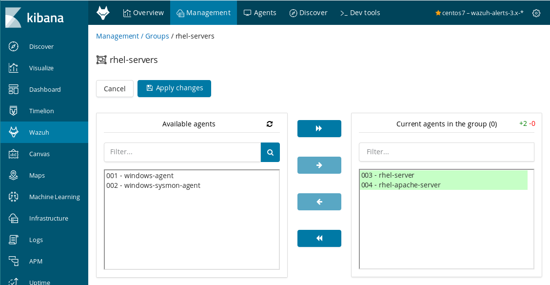 Add or remove your agents from a group Kibana