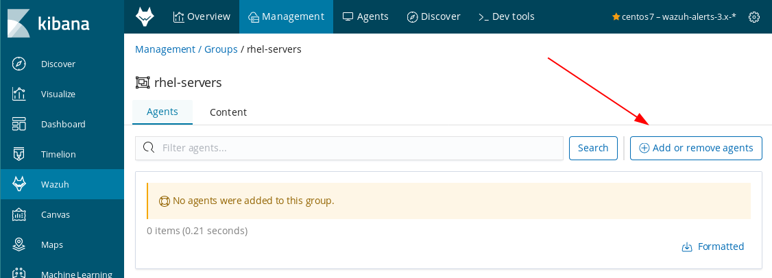 Steps to add or remove agents on the Wazuh App in Kibana