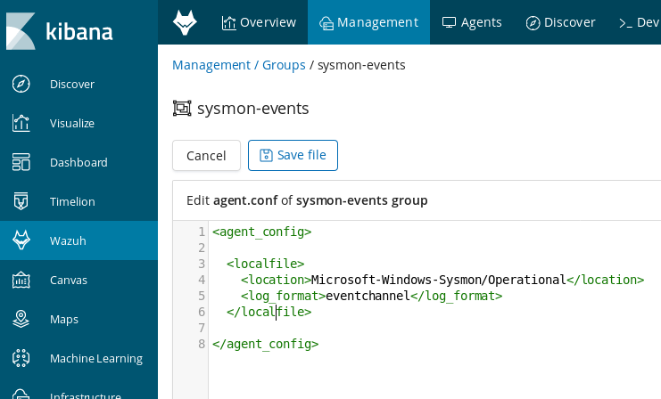 sysmon events configuration Kibana