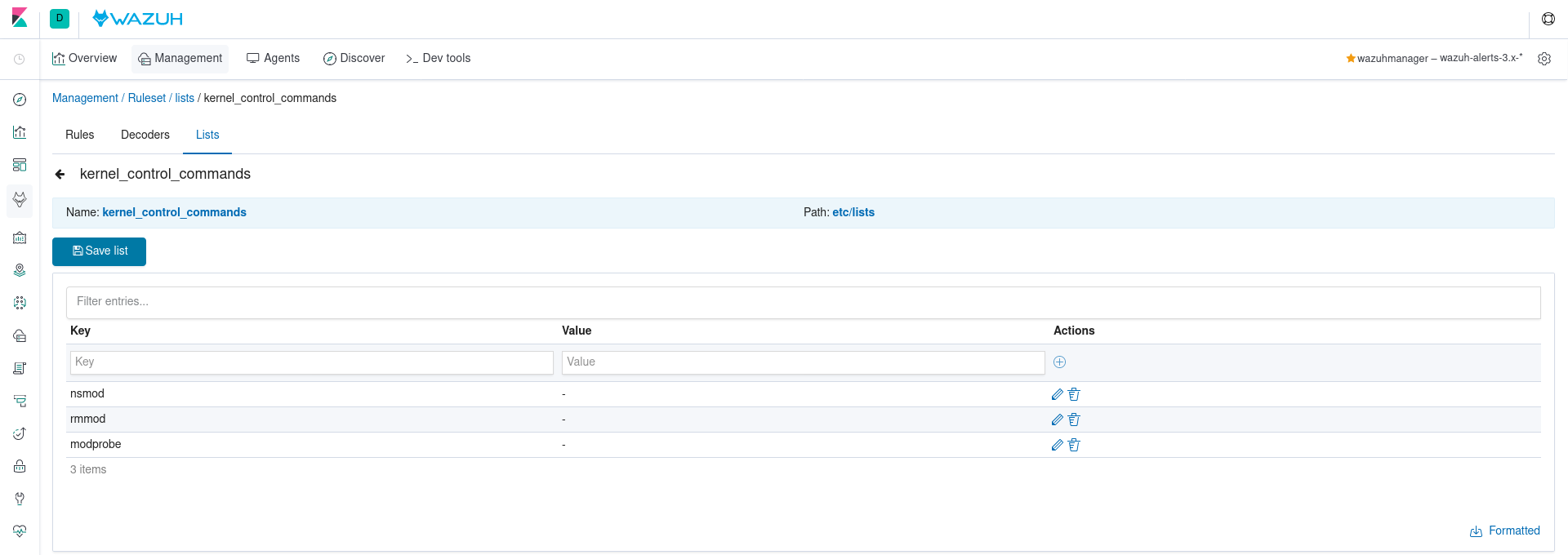 Example of CDB list management using the WUI