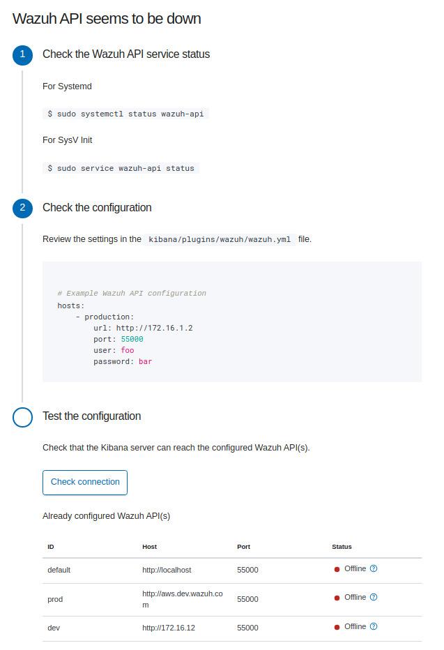 API non reachable dialog
