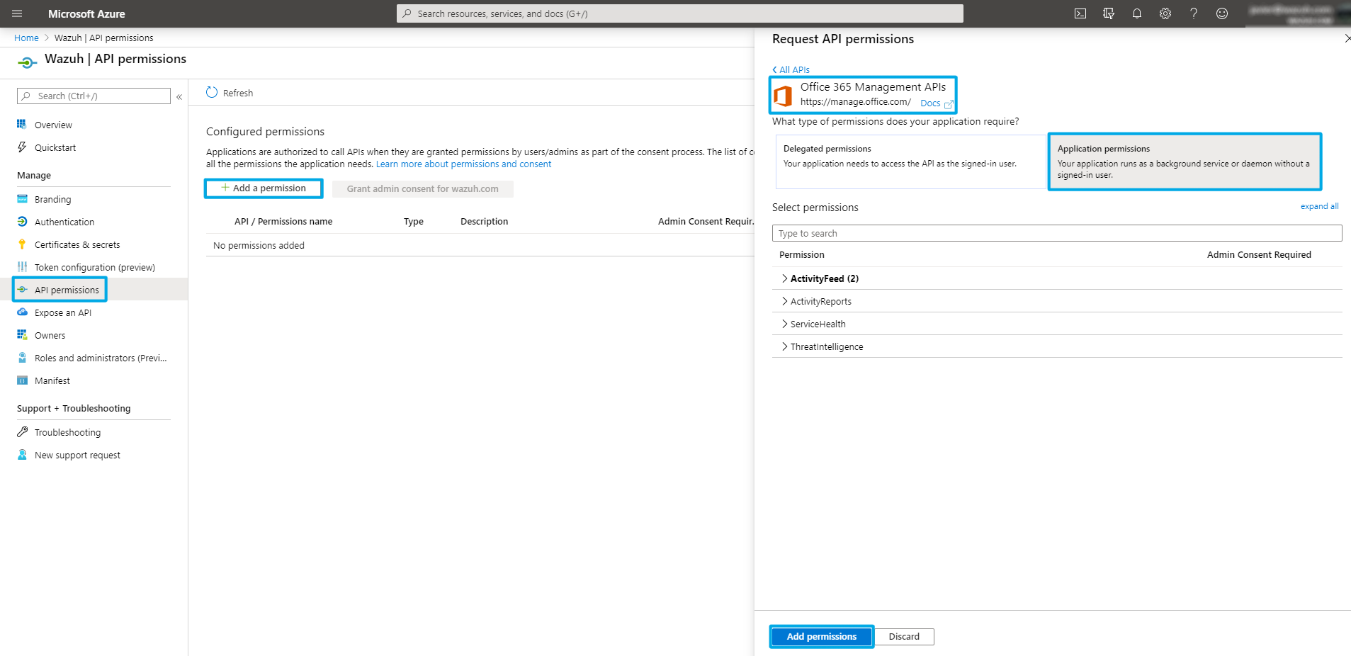 Configure the API permissions on Office 365 with Wazuh App