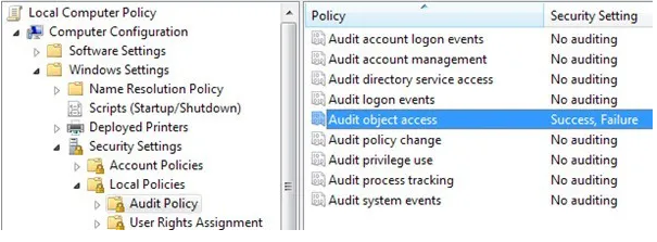 Monitor Folder Access: Audit object access policy