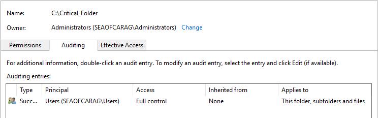 Monitor Folder Access: Auditing tab