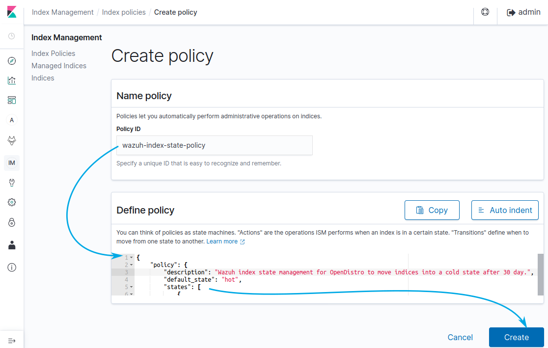 To create a policy first provide a name for it on the Policy ID box and then place the code for the policy inside the Define Policy box. Finally click on the Create button on the bottom left.