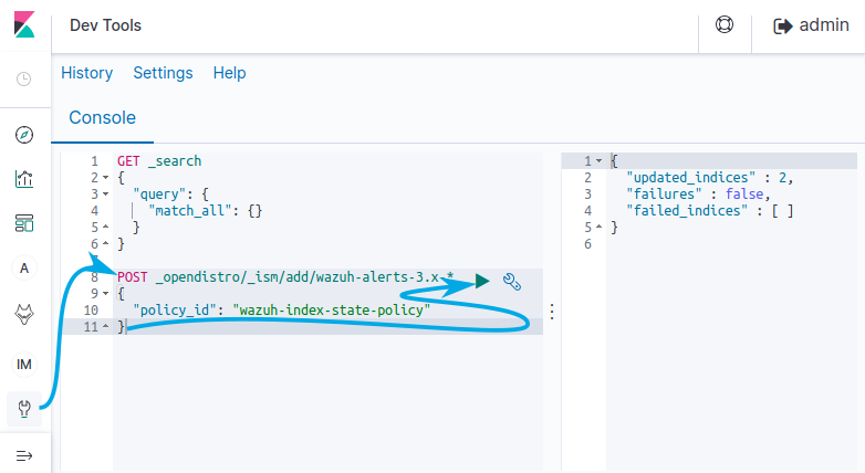Selecting the Dev Tools plugin by clicking on the wrench icon on the left column, then pasting the code presented above and clicking on the Play arrow will submit the API request to apply the indices.