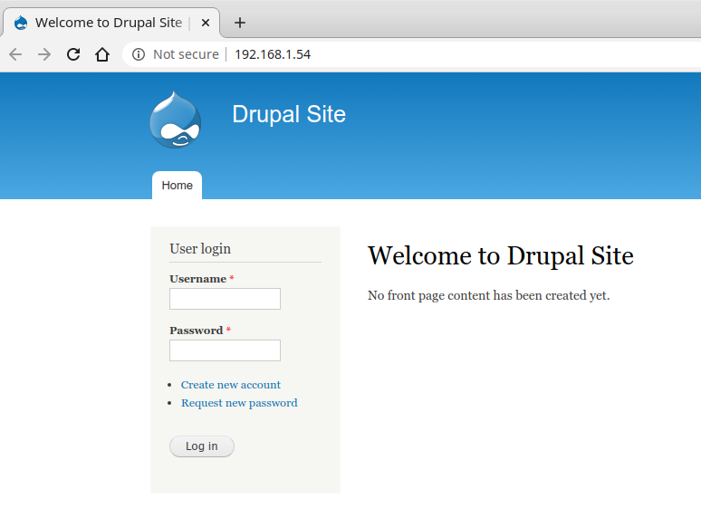 Vulnerable Drupal server. Screenshot.