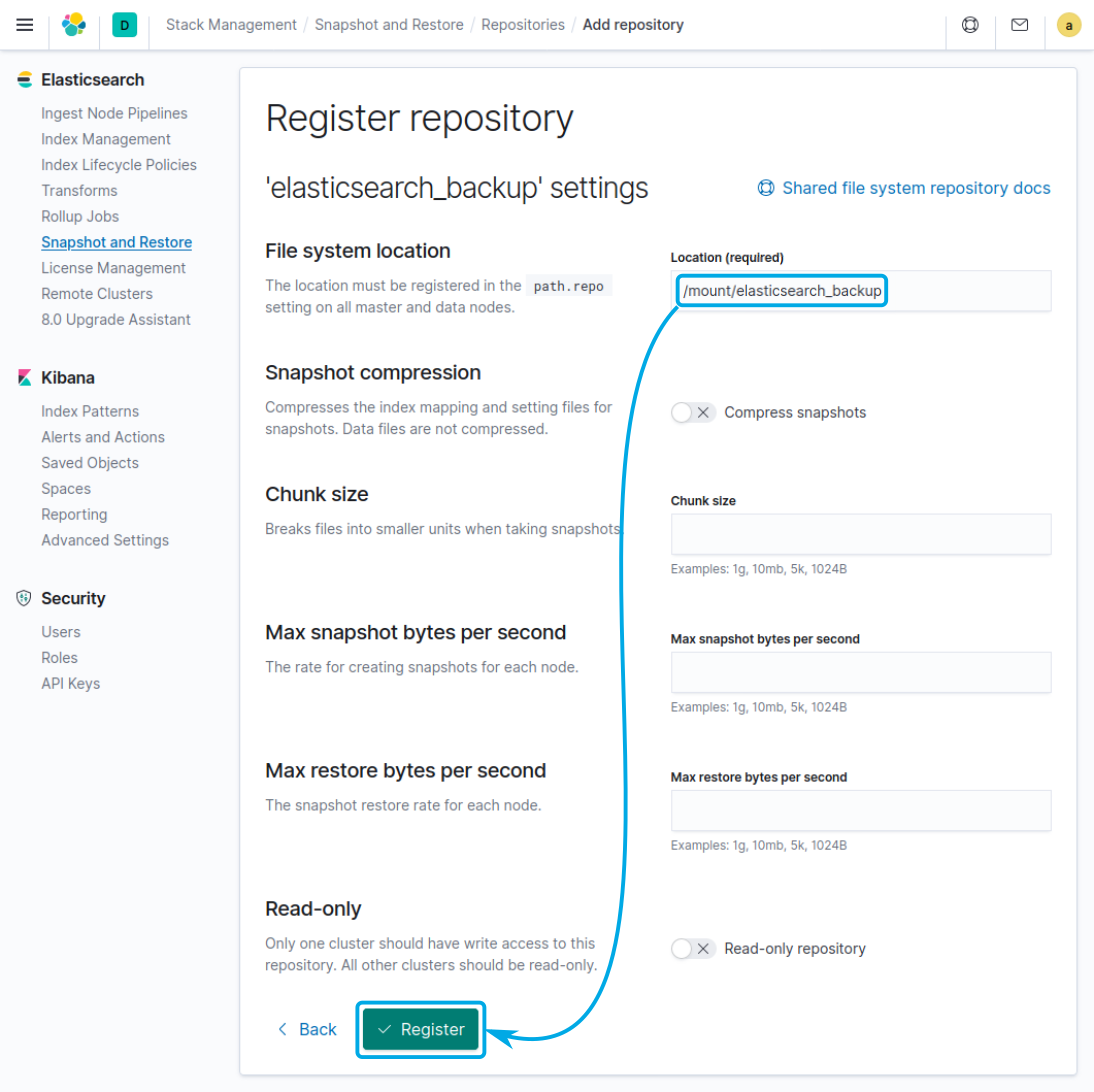 Provide the path to the repository and click on register