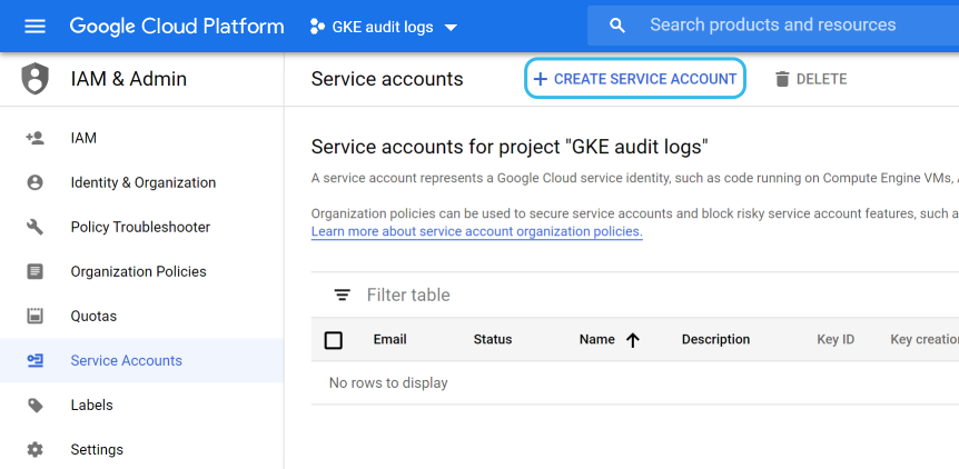 Google Cloud create service account