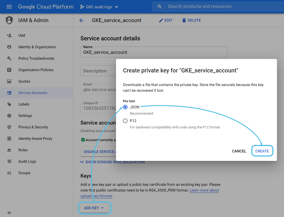 Google Cloud service account key