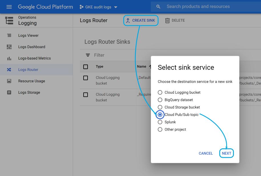 Google Cloud create sink